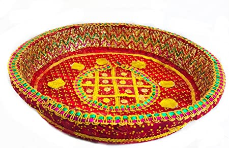 Luxury Round Decorative Tray Chaab Sequins Indian Wedding Christmas Extraordinary Indian Wedding Tray Decoration
