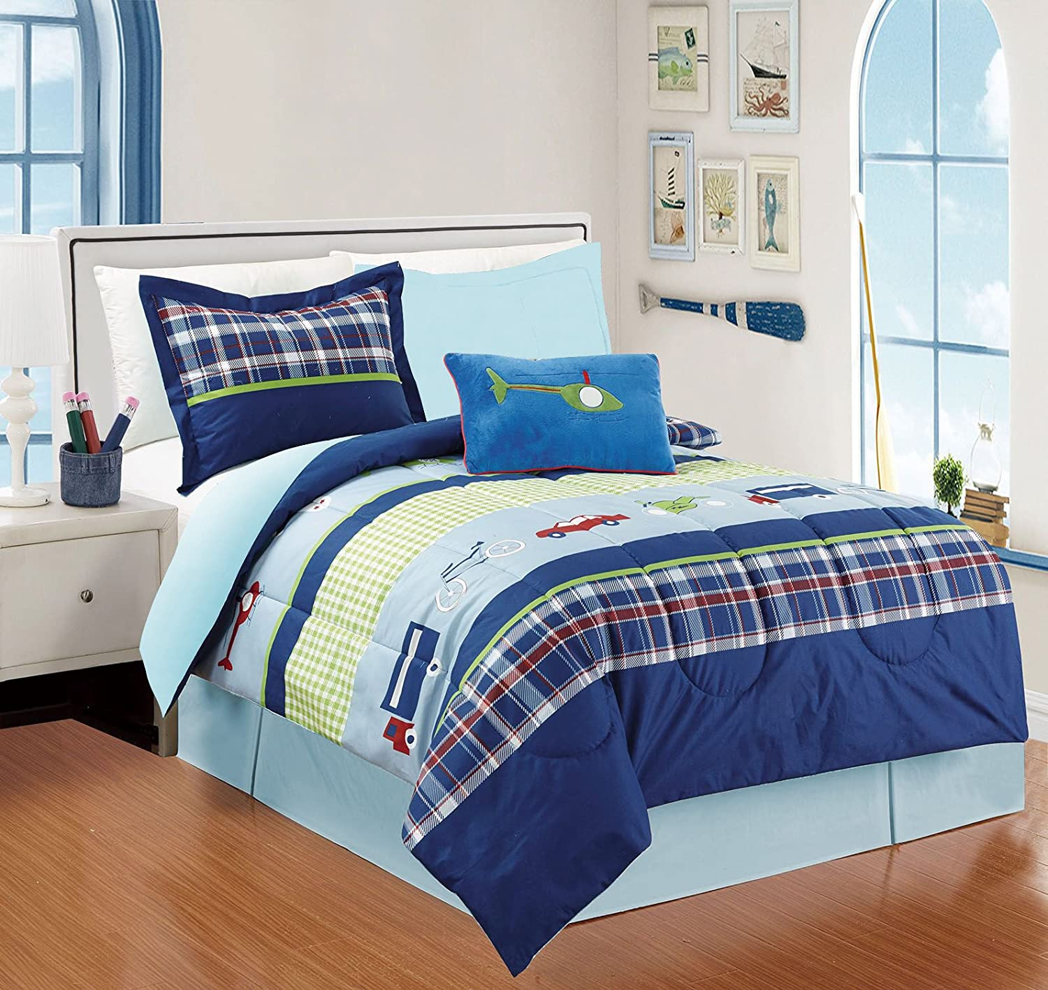 All American Collection 4 Piece Twin Size Auto's Comforter Set with Bed-skirt Comforter Set, Navy/ L.Blue
