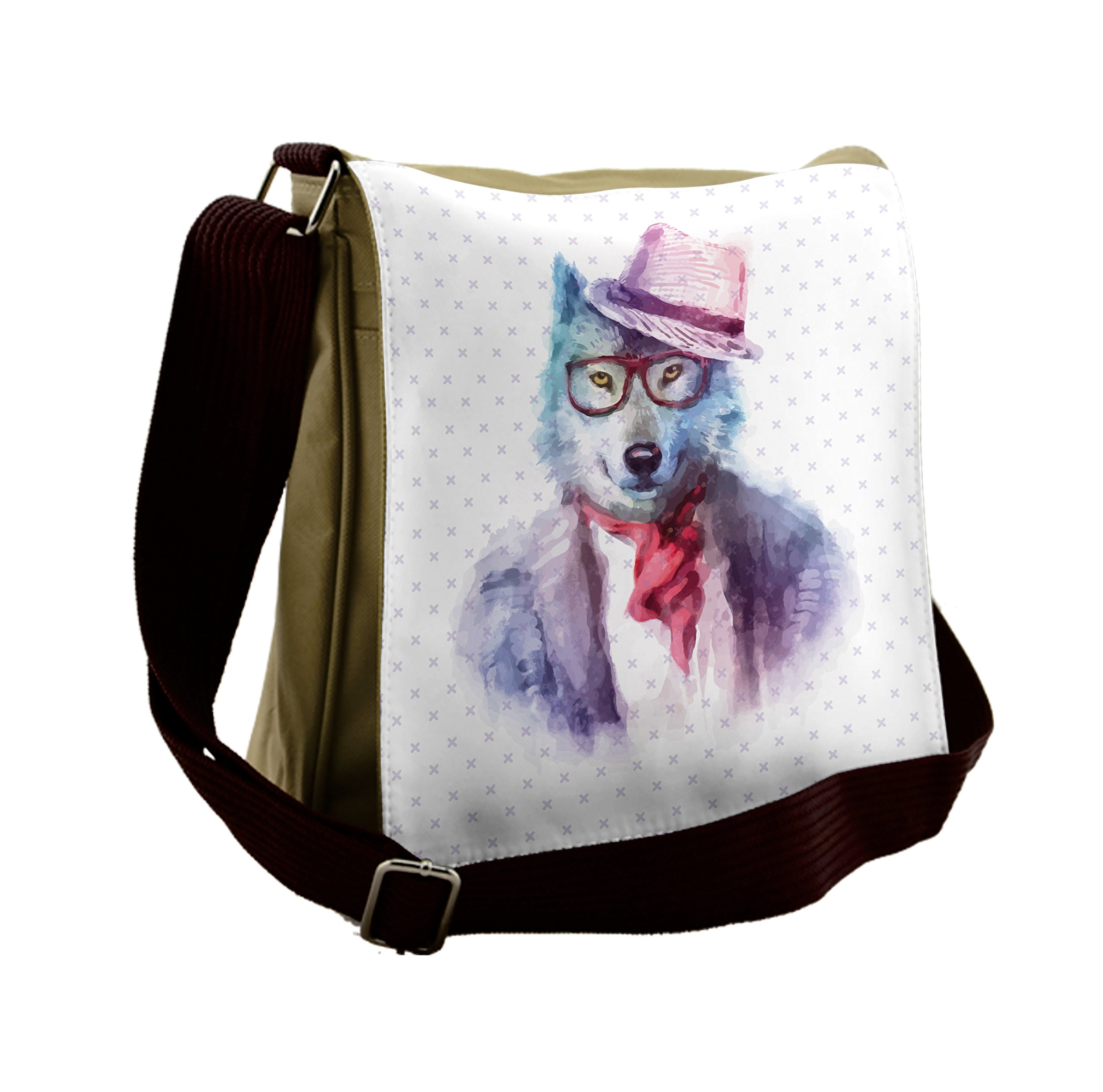 Lunarable Funny Messenger Bag, Hipster Wolf Dog in Glasses, Unisex Cross-body