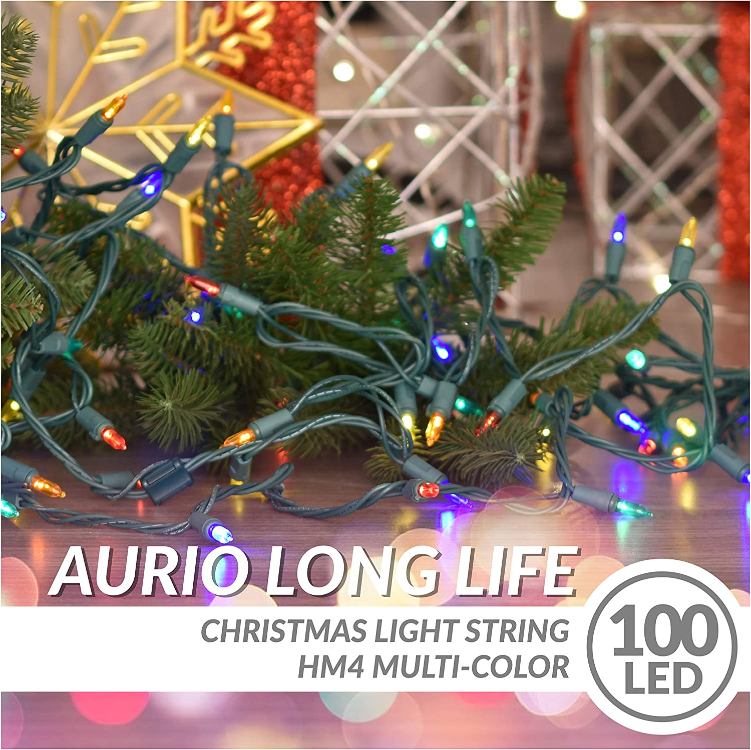 24.8ft 100-Count LED End-to-End Connectable C5 Christmas String Lights Aurio Christmas Lights Light Strings for Party Warm White Wedding Indoor /& Outdoor Christmas Tree Decoration