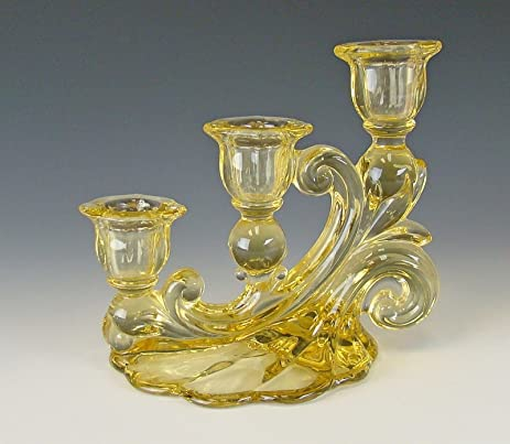 cambridge glass 1338 yellow 3 light candlesticksmulti avail ex - Cambridge Glass