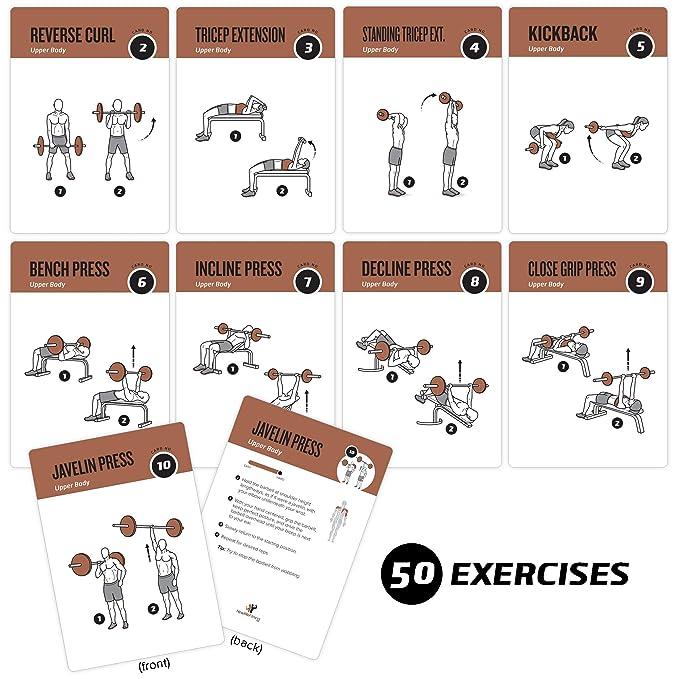 Pesas ejercicio tarjetas por newme Fitness - contiene 50 ejercicios de pesas - Total cuerpo workout- perfecto para casa entrenamientos - tu entrenador ...