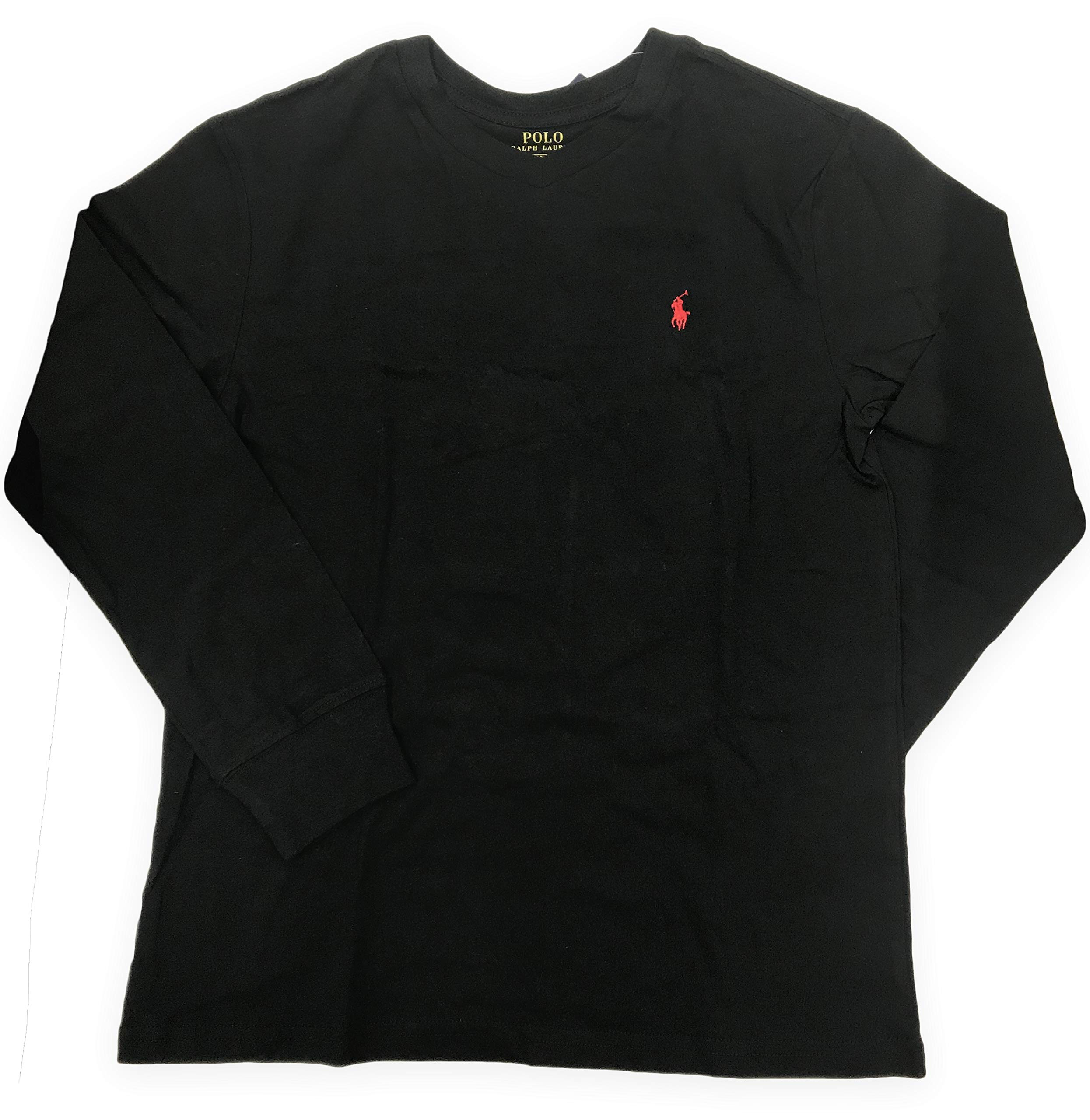 Polo Ralph Lauren Boy's V Neck Long Sleeve (Large (14-16), Black)