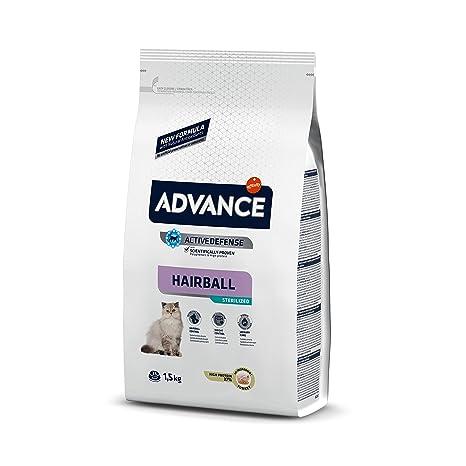 Advance Sterilized Hairball, comida para gatos esterilizados, para eliminar las bolas de pelo,