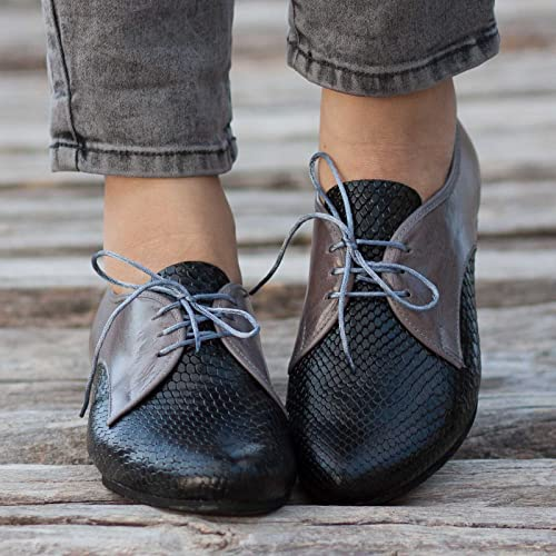 6bacf0a1c7296 Amazon.com: Black and Gray Handmade Leather Women's Oxford Shoes ...