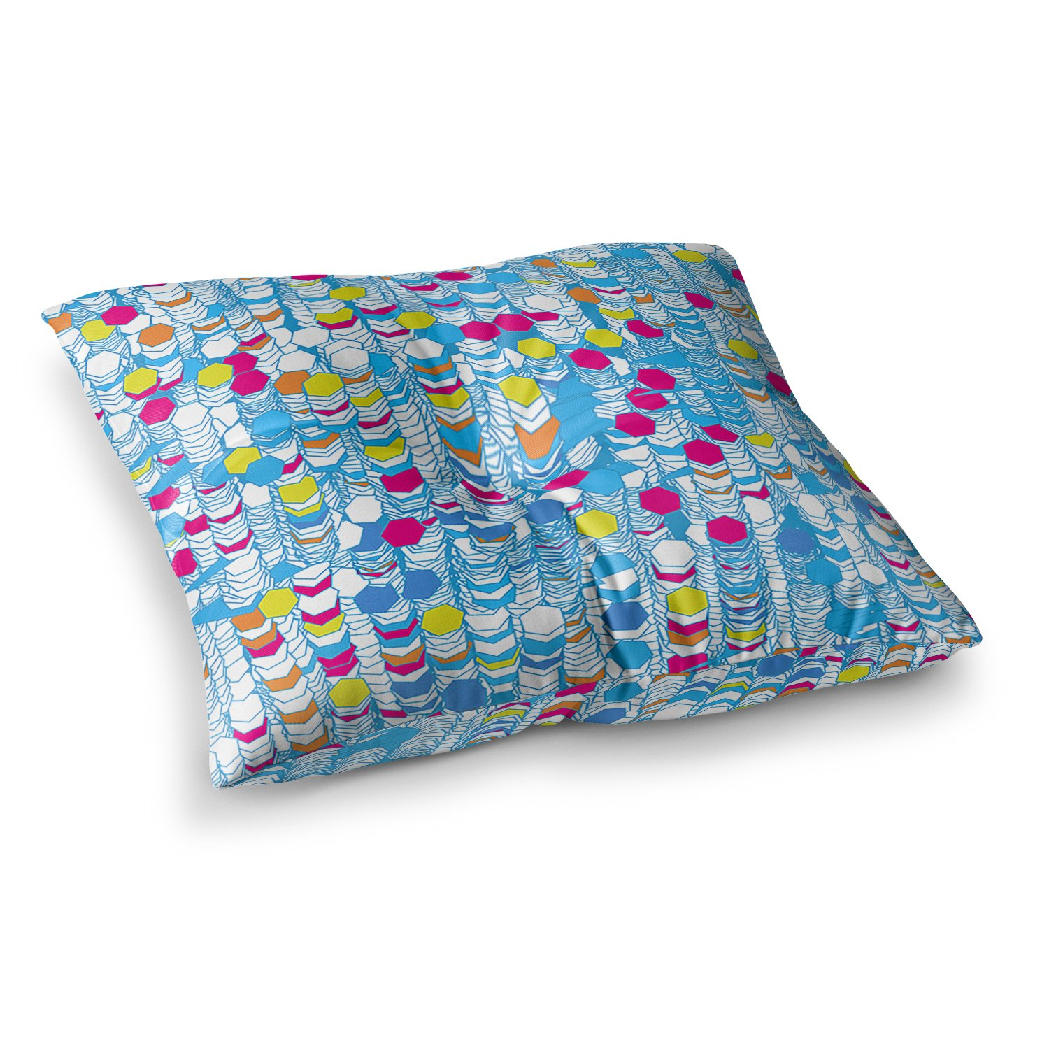 Kess InHouse Frederic Levy-Hadida Color Hiving Blue Abstract, 26' x 26' Square Floor Pillow