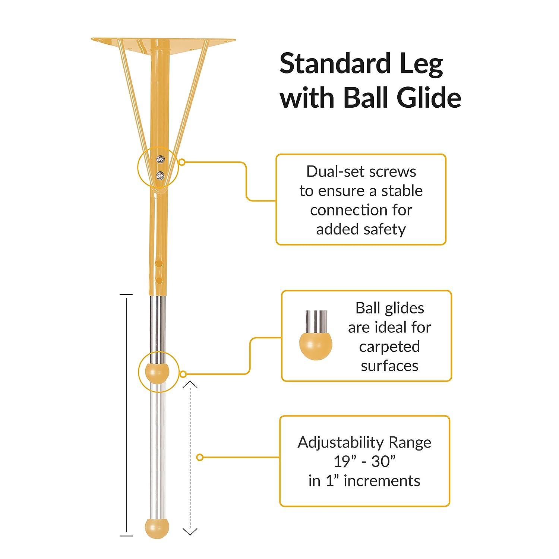 Standard Legs w// Ball Glides Adjustable Height 19-30 inch ECR4Kids Mesa Premium 24 x 48 Half Round School Activity Table Maple//Black