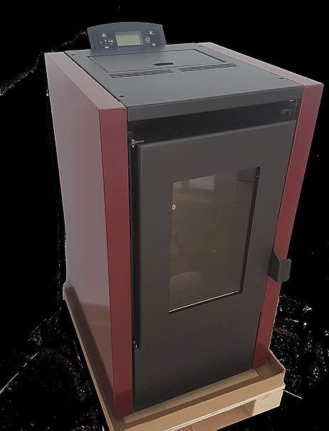 ECOMONT Estufas DE PELLETS Modelo Eco 03 7KW,Potencia Maxima, Negro Y Burdeos: Amazon.es: Hogar