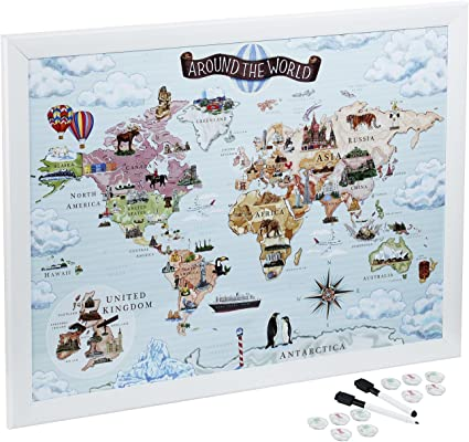 Mapa del Mundo, pizarra blanca magnética Mapas para dibujar, Pin y planificar tus viajes: Amazon.es: Oficina y papelería