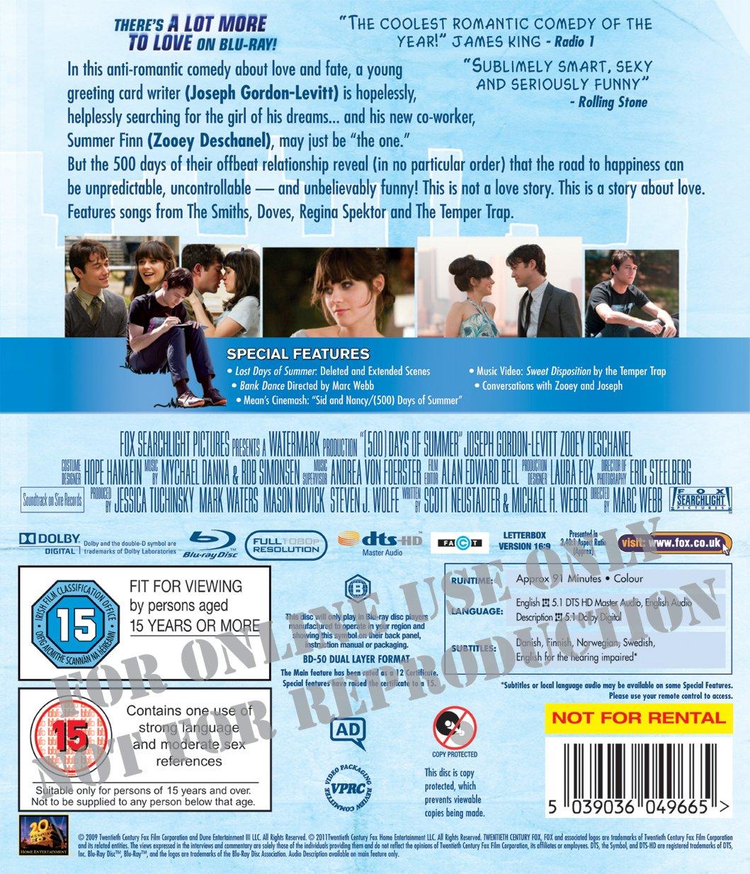 Amazon 500 Days Of Summer Blu Ray Uk Import Joseph