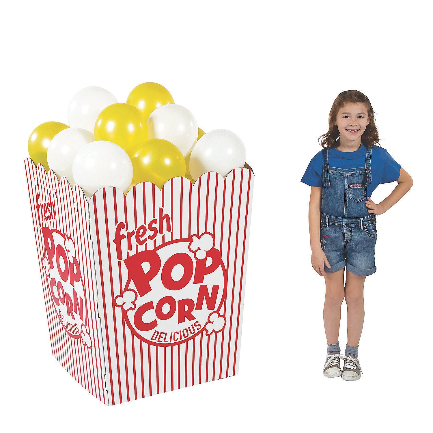 3D Popcorn Box Cardboard Stand-Up (Includes 24 Balloons) by Fun Express