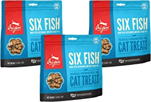 Orijen 3 Pack of Six Fish Freeze-Dried Cat Treats, 1.25 Ounces Each, Made in The USA
