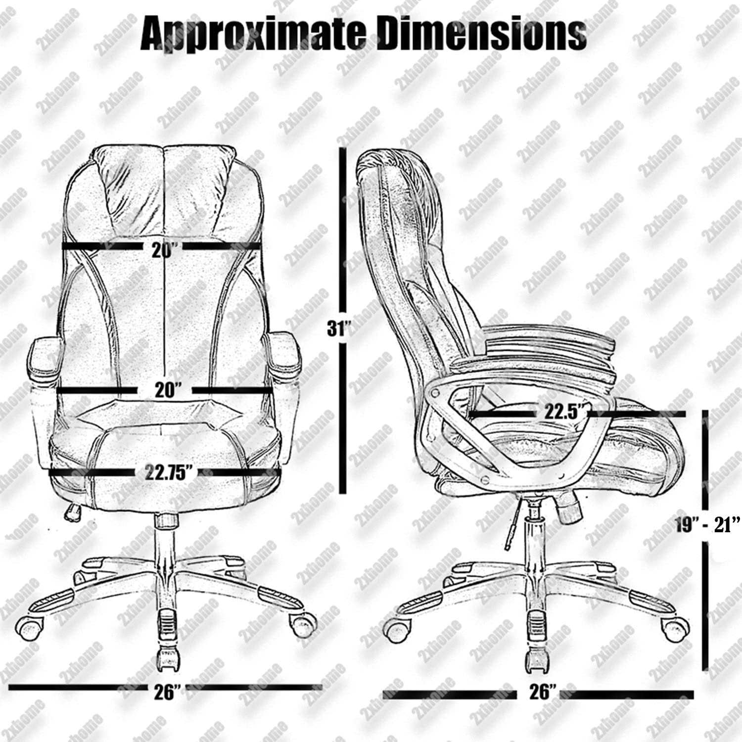 2xhome – Modern High Back Tall Ribbed PU Leather Swivel Tilt Adjustable Chair Designer Boss Executive Management Manager Office Conference Room Work Task Computer White