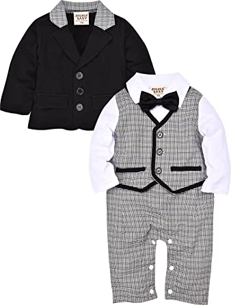 7584b008b637 Amazon.com  ZOEREA 2pcs Baby Boys Gentlemen Romper + Coat Wedding ...