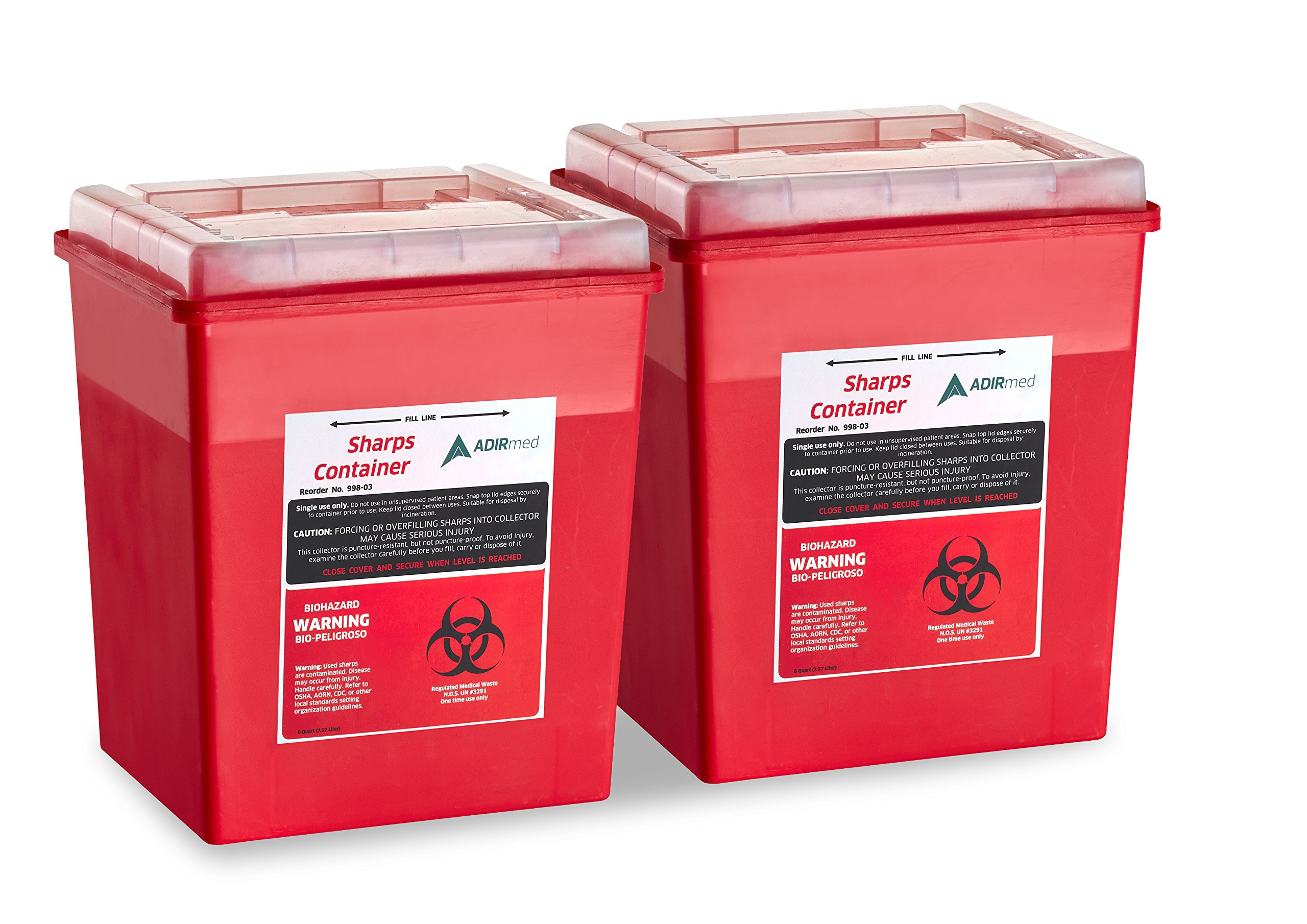AdirMed Sharps & Needle Biohazard Disposal Container - 8 Quart - Flip-Open Lid - 2 Pack