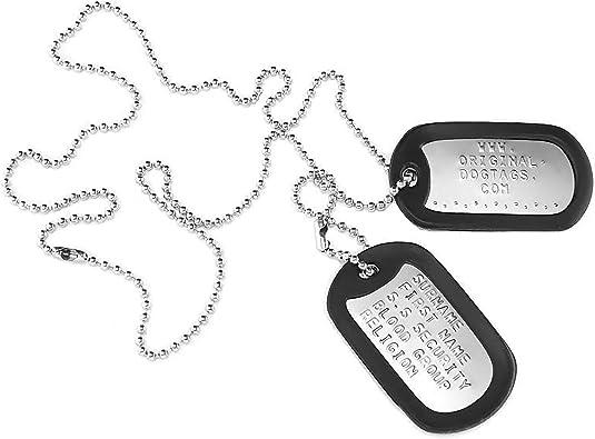 Placas de identificación personalizadas, estilo militar, en relieve, personalizables: Amazon.es: Joyería