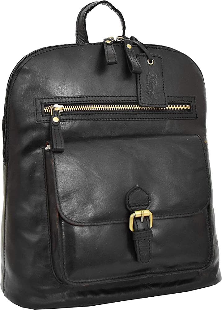 Genuine Black Leather Backpack For Womens Casual Office Organiser Day Rucksack Campus