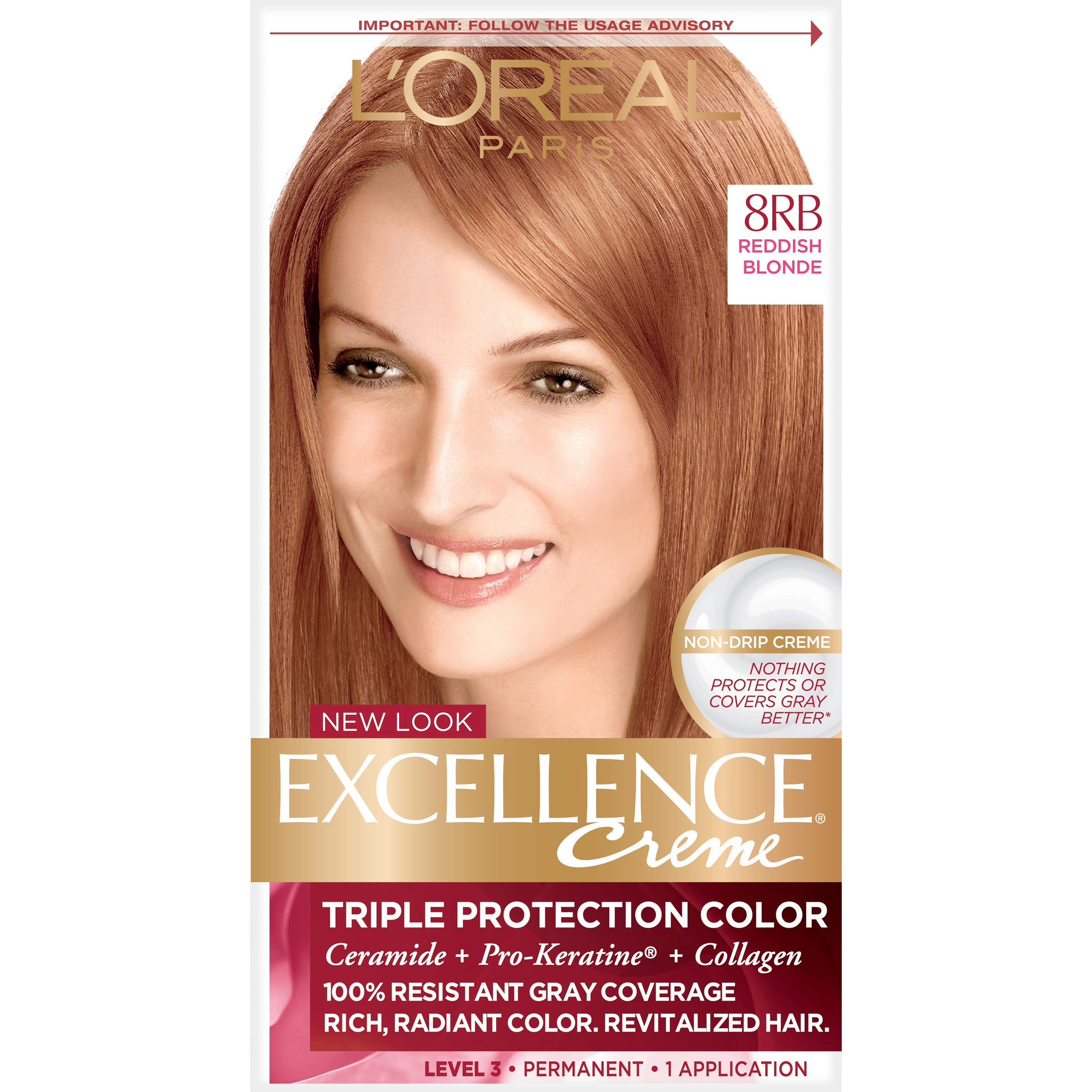 L'Oreal Paris Excellence Creme Permanent Hair Color, 8RB Medium Reddish Blonde, 100 percent Gray Coverage Hair Dye, Pack of 1