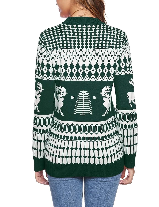 iClosam Weihnachtspullover Damen Lang Rentier Christmas Sweater Mit Rundhals