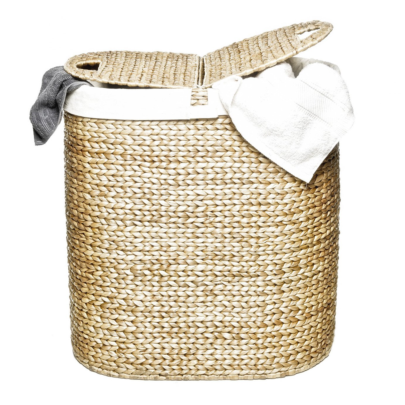 Hand Woven Oval laundry hamper with 2 sections