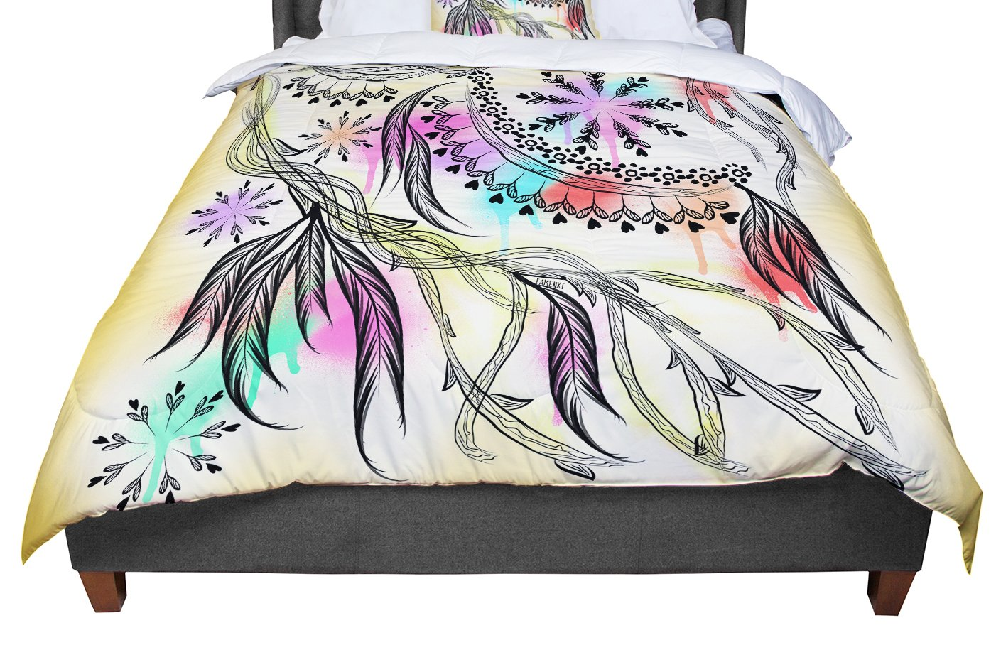 KESS InHouse Famenxt 'Birds World' White Pink King / Cal King Comforter, 104' X 88'
