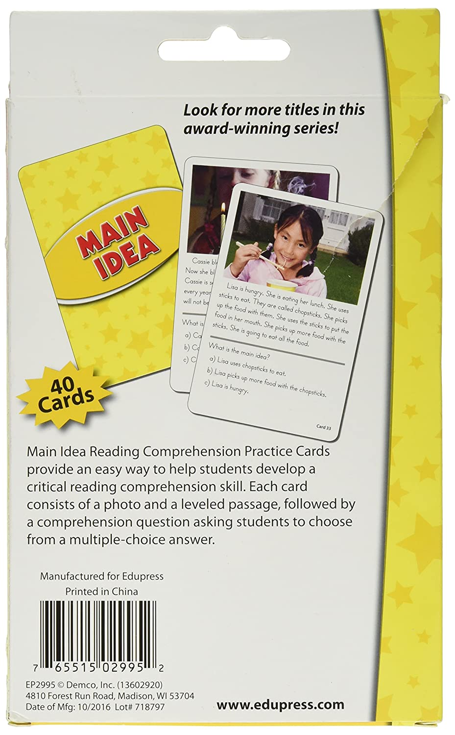 Edupress Reading Comprehension Practice Cards, Main Idea, Yellow Level  (EP62995)