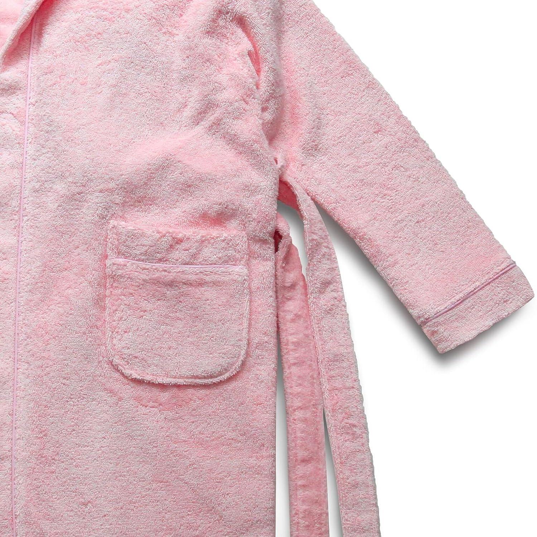Linum Kids Luxury Childrens Hooded Bathrobe Turkish Terry Cotton Robe Small Soft White