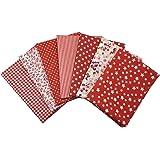 7 pz Tessuti Stampato Cotone Tessuti e Stoffe a Metro Cotone Tessuti Stoffe per Patchwork Scampoli Stoffa Fatansia per Cucito Creativo (50cmx50cm) Rosso