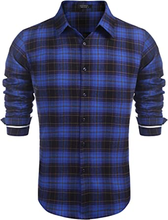 COOFANDY Camisa de manga larga para hombre, estilo casual, a cuadros, ajuste regular, a cuadros, camisas abotonadas para hombre