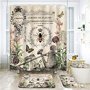 ArtSocket 4 Piece French Shower Curtain Sets Modern French Bee Garden Vintage Queen Flower Watering Can with Non-Slip Rug, Toilet Lid Cover, Bath Mat and 12 Hooks 72x72inch