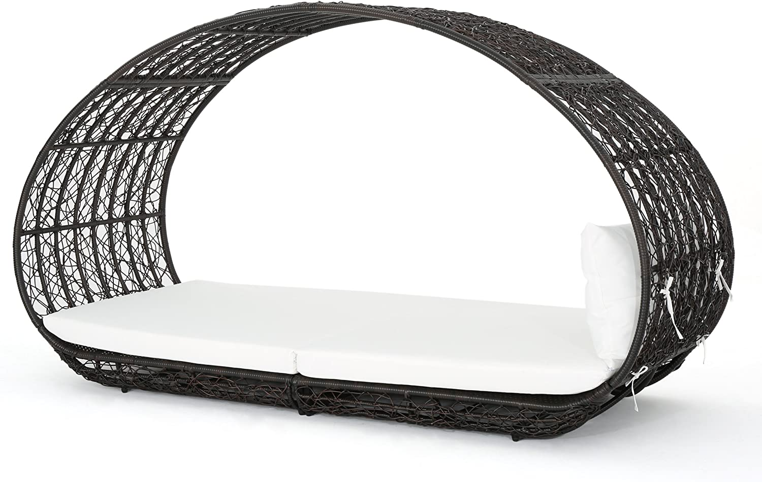 GDFStudio Bedford Outdoor Wicker Overhead Canopy Daybed w Water Resistant Cushion Multibrown White