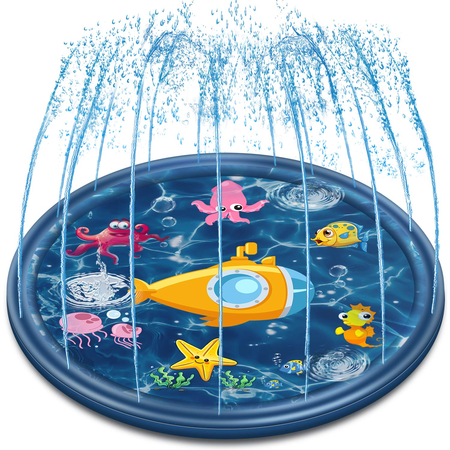 Neteast Outdoor Sprinkler Mat Water Toys for Kids and Toddlers, 68'' Outside Splash Pad Water Toys for 1 2 3 4 5 6 7 8 Year Old Boys and Girls Baby by Neteast