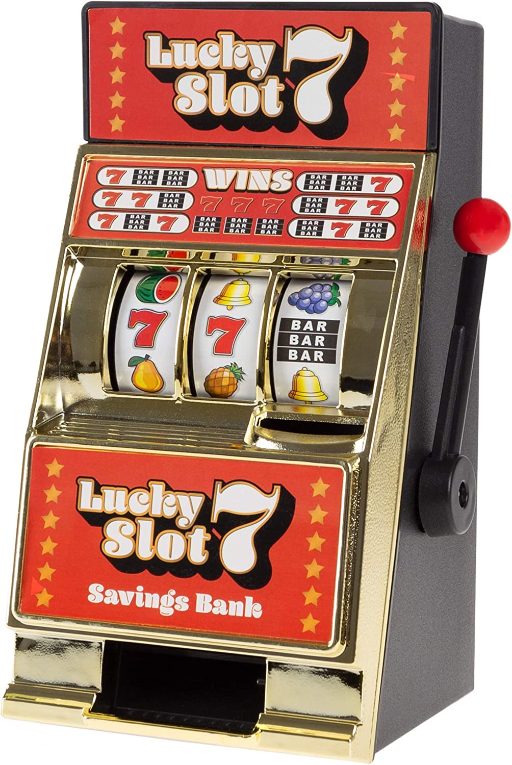 Trademark Gameroom Slot Machine Coin Bank – Realistic Mini Table Top Novelty Las Vegas Casino Style Toy with Lever for Kids & Adults (Lucky 7S)