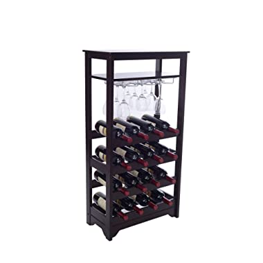 Merry Products 16-Bottle Wine Rack, Espresso