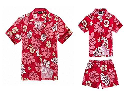 651533ab Matching Father Son Hawaiian Luau Outfit Men Shirt Boy Shirt Shorts Hibiscus  Red S-2