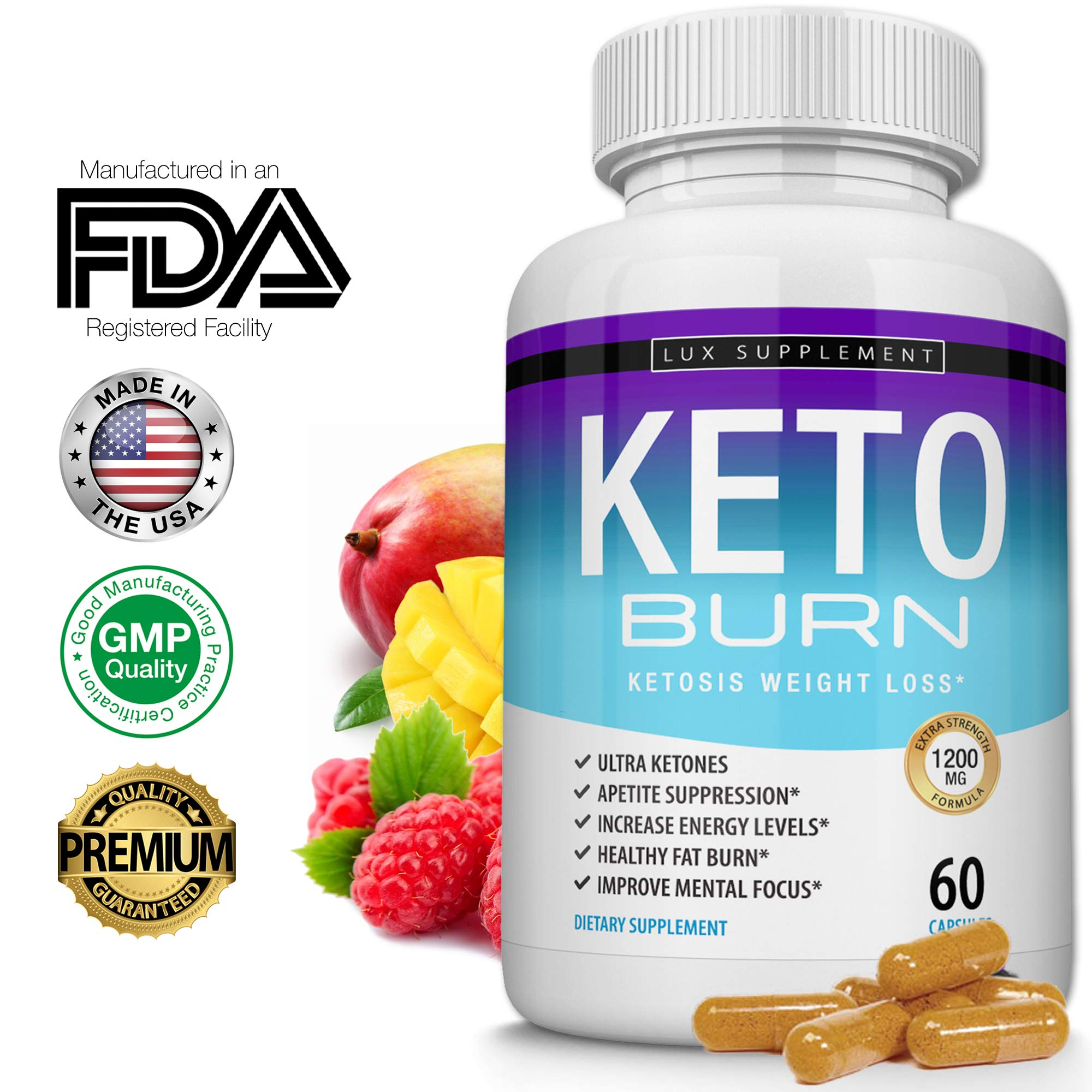 Lux Supplement Keto Burn Pills Ketosis Weight Loss- 1200 Mg Ultra Advanced Natural Ketogenic Fat Burner Using Ketone Diet, Boost Energy Focus & Metabolism Appetite Suppressant, Men Women 60 Capsules by Lux Supplement (Image #1)