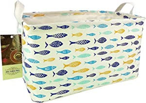 HUNRUNG Rectangle Storage Basket Cute Canvas Organizer Bin for Pet/Kids Toys, Books, Clothes Perfect for Kid Rooms/Playroom/Shelves (Fish)