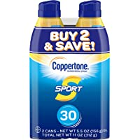 2-Pack Coppertone Sport SPF 30 Sunscreen Spray 5.5oz