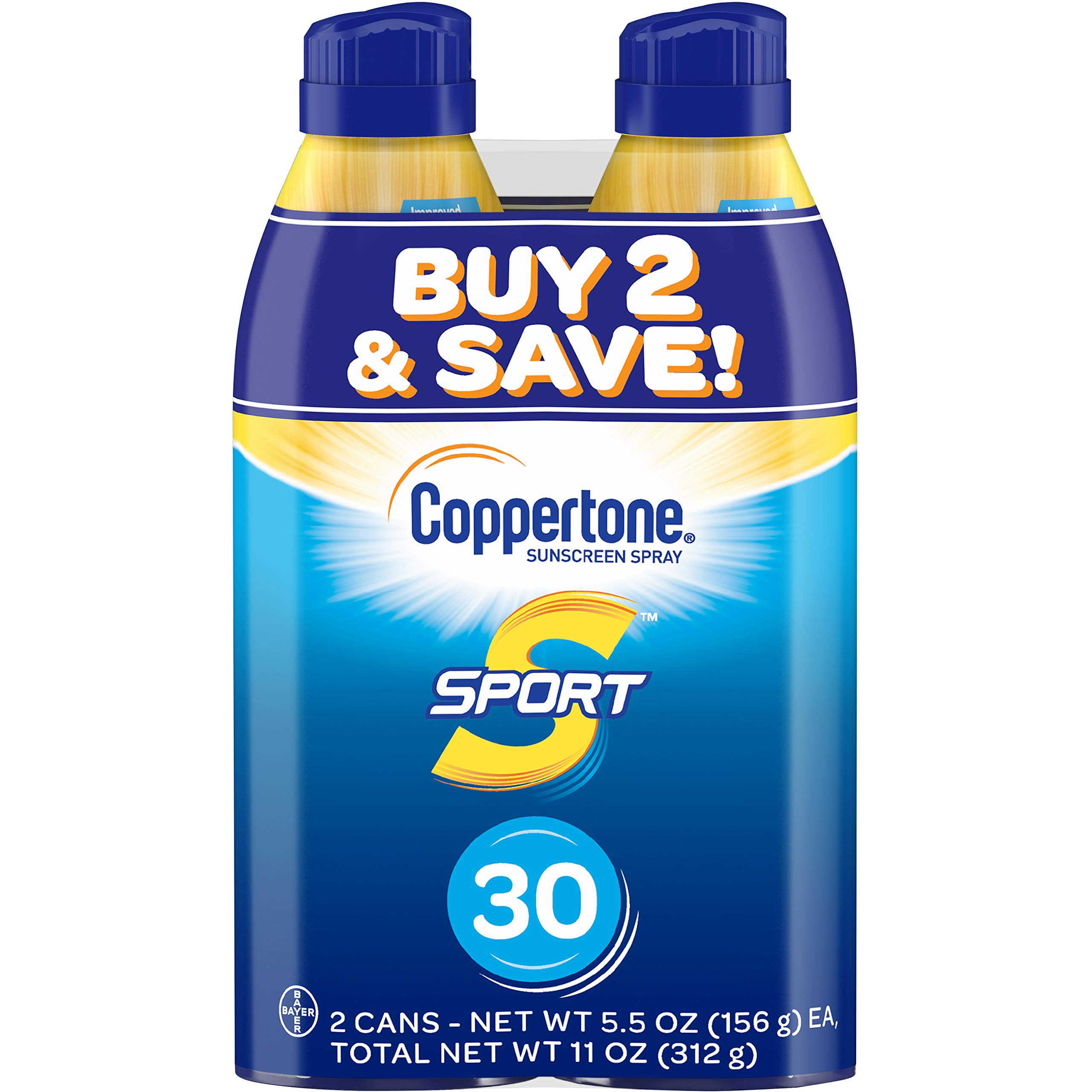 Coppertone SPORT Continuous Sunscreen Spray Broad Spectrum SPF 30 (5.5 Ounce per Bottle, Pack of 2) (Packaging may vary) by Coppertone
