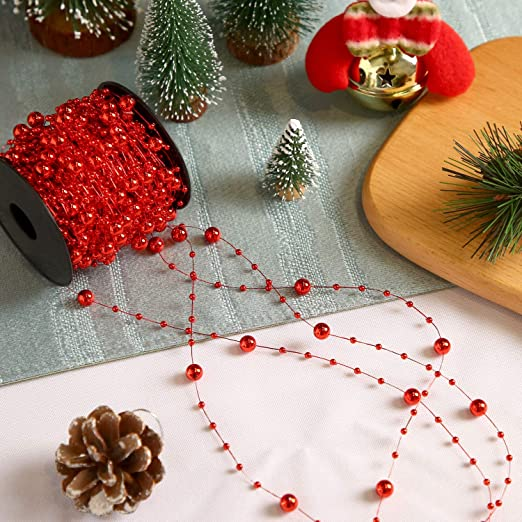 Pangda 65.6 Feet Christmas Tree Beads Garland Plastic Pearl Strands Chain for Christmas Wedding Decoration Red