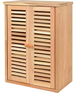 Badschrank bambus  Badmöbel Hängeschrank Badezimmer Badschrank Bambus mit 2 Türen ...