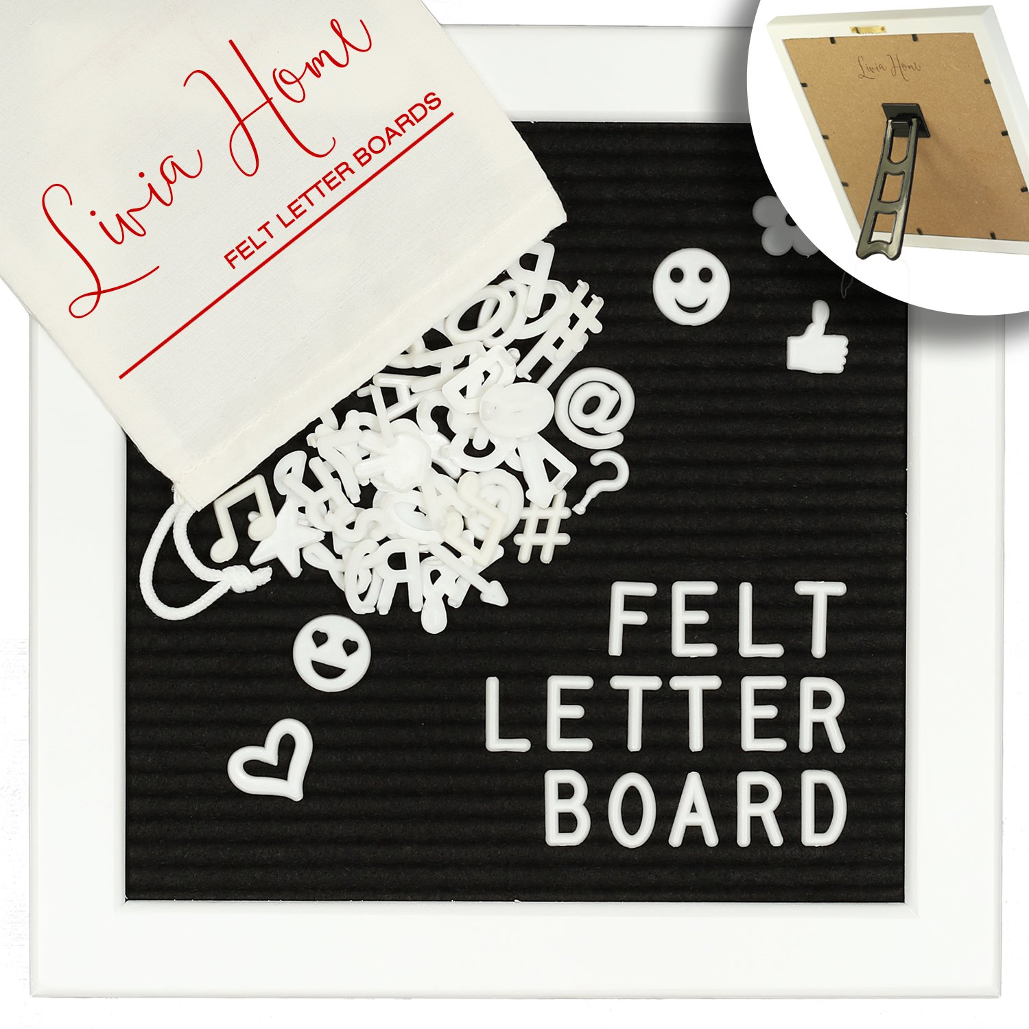 Letter Board with Stand – Black Felt Sign with 346 White Plastic Changeable Characters – Wooden 10 x 10 inch Square White Frame – with 7x5 inch Canvas Bag - Desktop Display by Livia Home by Livia Home (Image #1)