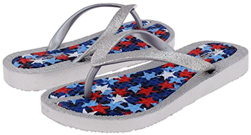 2c2f70f97 Capelli New York Girls Flip Flops Faux Leather Thong Silver Combo 1 2