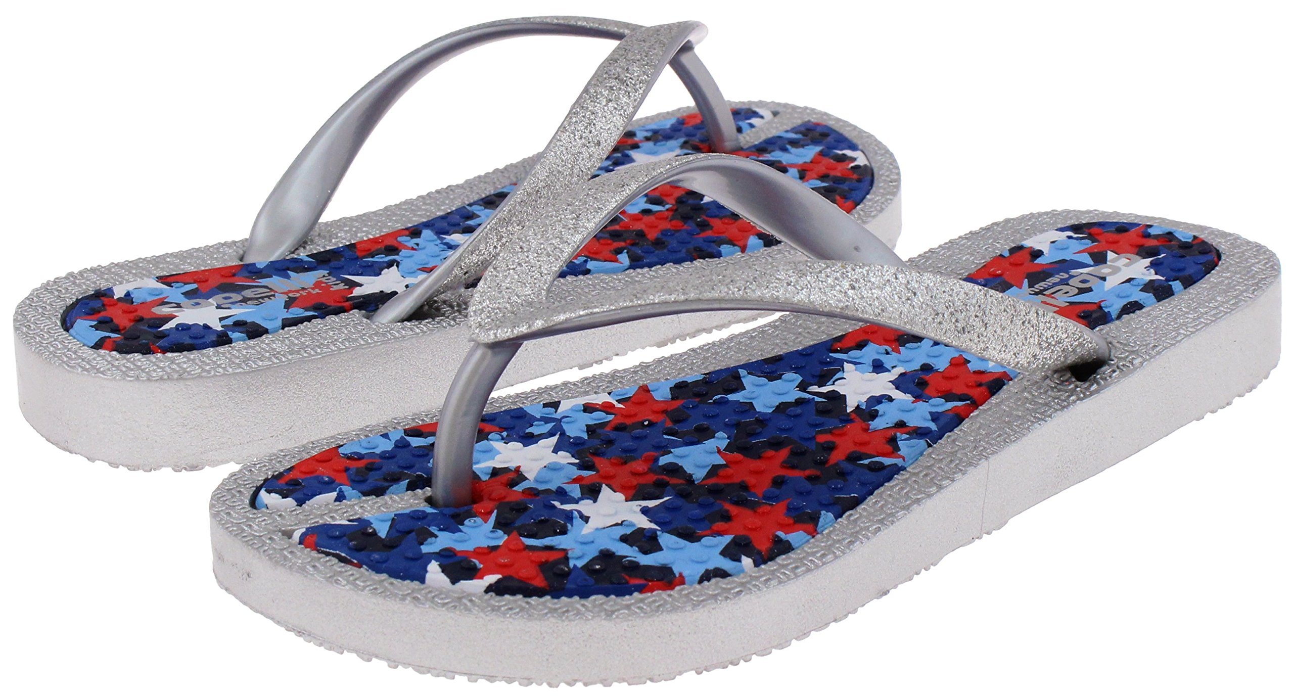 Capelli New York Girls Flip Flops Faux Leather Thong Silver Combo 10/11