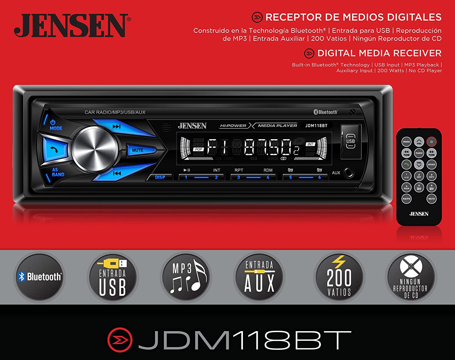 Jensen Jdm118bt Multimedia High Definition 7 Character Lcd Single Wiring Harness Diagram Further Xo Vision Car In Din Stereo Receiver With Built Bluetooth Usb Mp3 Player