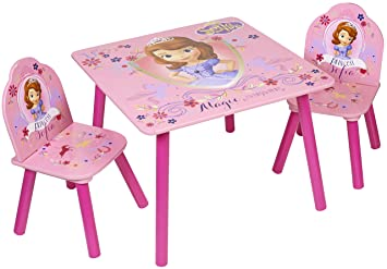 Disney Sofia The First Table And Chairs Wood Pink Amazoncouk