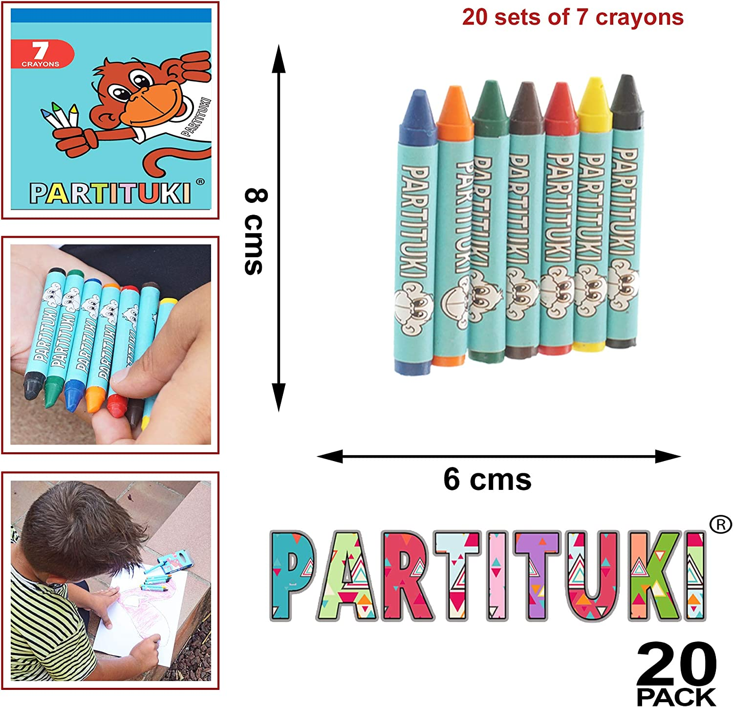 Partituki Party Favours for Children Pinata Birthday Gifts for Kids 10 Boxes with 7 Assorted Crayons per Box Non Toxic EU Certified.
