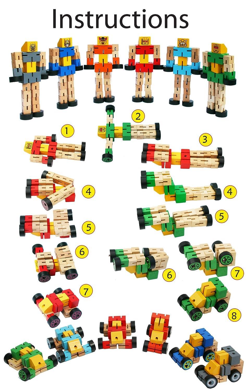 Toys of Wood Oxford Orange Robots Bois Jouet transformateur Jouet de Construction en Bois pour Enfants Voiture et Personnage Sportif Transformer en Animal