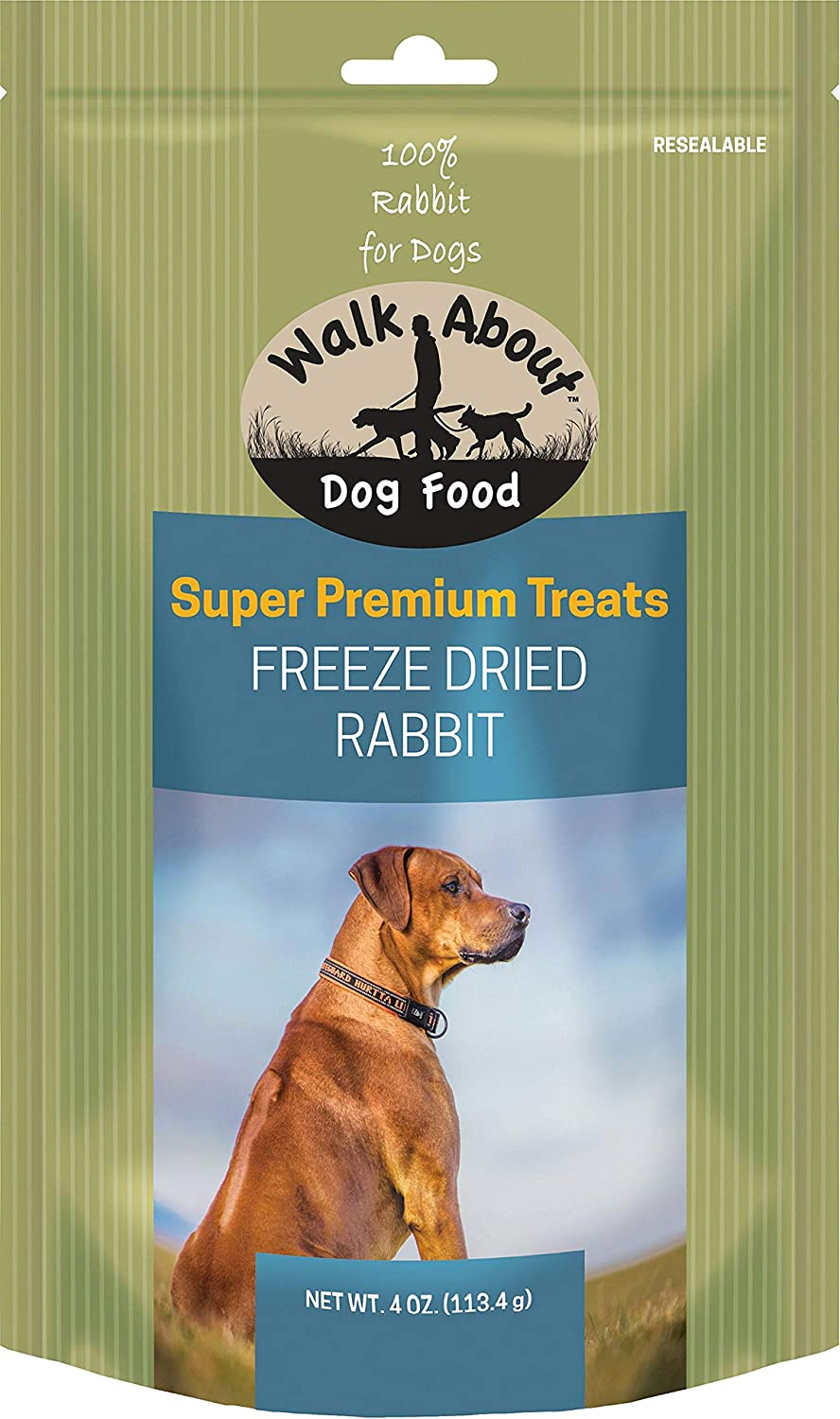 Walk About Freeze Dried Dog Treats, Rabbit Recipe, 4 Ounces Each