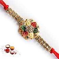 Bandhan Red AD Stone Design Bracelet Rakhi for Brother